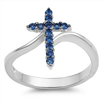 (.925 Sterling Silver Classic Simulated Sapphire CZ Religious Cross Fashion Ring)
