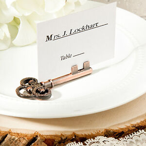 150 Vintage inspired place card/photo holders wedding favors skeleton key
