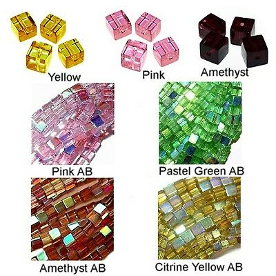 WHOLESALE GLASS BEADS SQUARE CUBE 6 COLORS GREEN AB PINK AB YELLOW AB 6MM OR 4MM