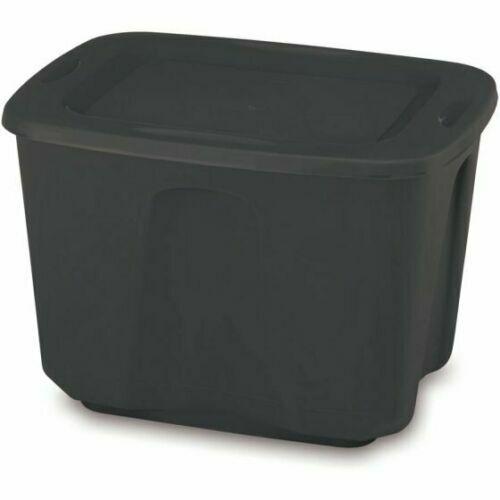 8 Plastic Tote Box 18 Gallon BLACK  Stackable Storage Bin Co