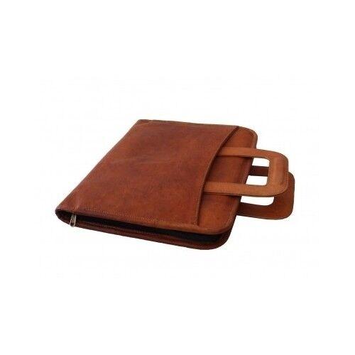 Leather Business Portfolio Hidden Briefcase Handle Folder Padfolio Organizer