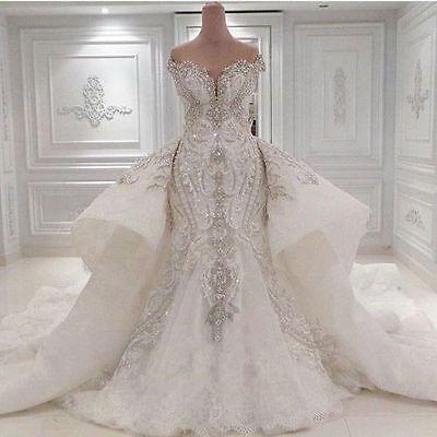 New Luxury Ivory/White Wedding Dress Bridal Gown Custom Size 8 10 12 14 16+++