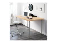 IKEA Linnmon Adils study table/desk 150x75 cms oak effect and black legs