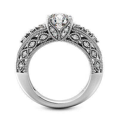 2 CT Round Enhanced D/SI Diamond Solitaire Engagement Ring 14k White Gold