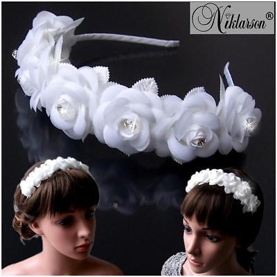 Haarreif Kommunion Braut Rosen weiß Strass Blumenmädchen Hochzeit Blumen H5150*