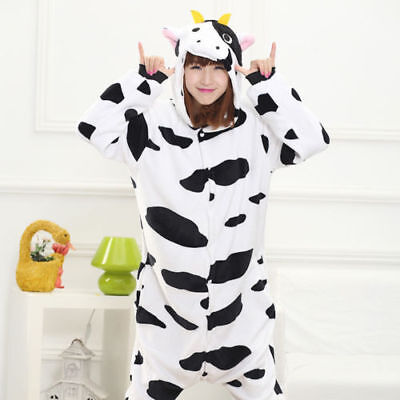 Cow Onesie0 Adult Men Women Unisex Cosplay Costume Pyjama new (Mens Onesie Costume)