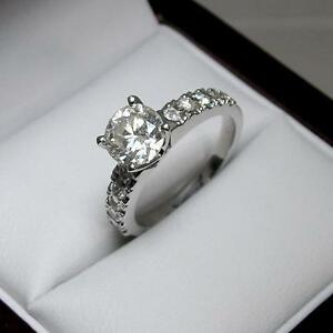 White Gold Diamond Engagement Ring 1.35CTW Bague de Fiançailles en Diamants