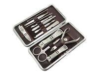 12 Piece Nail Care Cutter Cuticle Clipper Manicure Pedicure Kit Case Gift Set UK