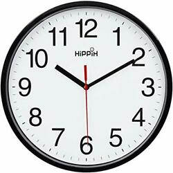 Black Wall Clock Silent Non Ticking Quality Quartz, Battery Operated 10 1- Red