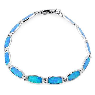Lucia Solid .924 Fine Sterling Silver Blue Lab Opal Bracelet