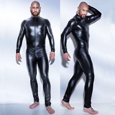 4 Way Halloween Costumes (Stretch 4-Way Black Wet PVC Look Jumpsuit Catsuit Party Halloween)