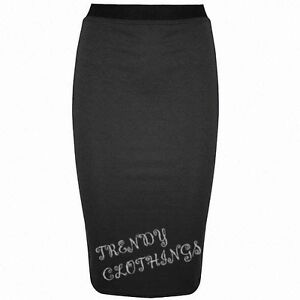 Womens Plain Office Work Pencil Ladies Stretch Bodycon Mini Midi Skirt Size 8-14