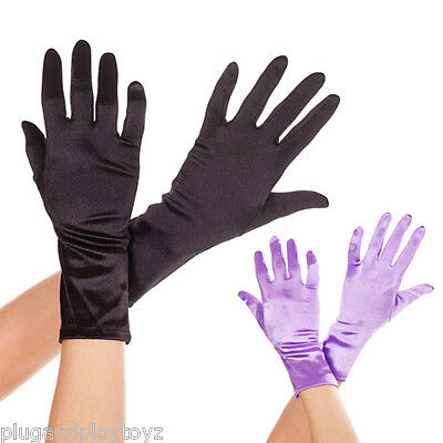 Short Shiny Wrist Length Satin Gloves Bridal Prom Formal Party Halloween Costume - Short Satin Gloves