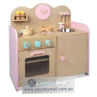 7pc Cookware Play Floral Wooden Childs Kitchen Set