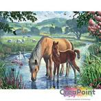 Full 5D Diamond Painting Paard & veulen in de beek 60 x 4...