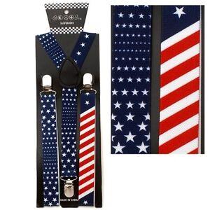 NEW PATRIOTIC ELASTIC BRACES CLIP ON Y-SHAPE SUSPENDERS ~ US AMERICAN FLAG SP155
