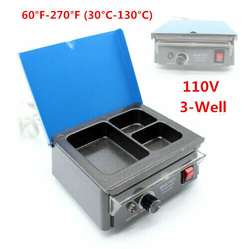 Dental Lab 3-Well Wax Heater Melting Pot Portable Analog Heater Non-stick 110V