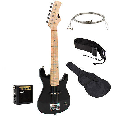 "Electric Guitar Kids 30"" Black Guitar With Amp + Case + Strap and More New on Rummage"