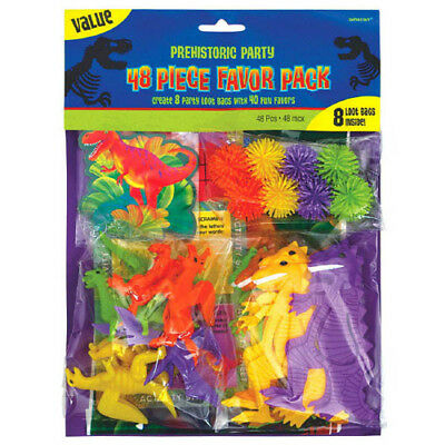 DINOSAUR PREHISTORIC PARTY FAVOR PACK (48pc) ~ Birthday Supplies Toys Plastic - Prehistoric Party Supplies