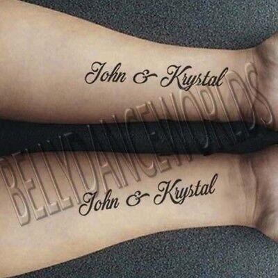 Tattoos Of Love (SET OF 2 PERSONALIZED CUSTOM NAME TEMPORARY TATTOO LOVE COUPLE BRIDAL)