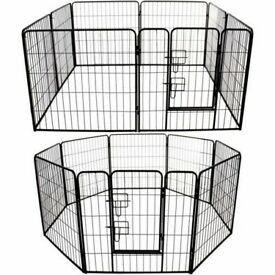 Large Heavy Duty Tall Metal Folding Cage Pet Play Run Puppy Rabbit Dog Cage