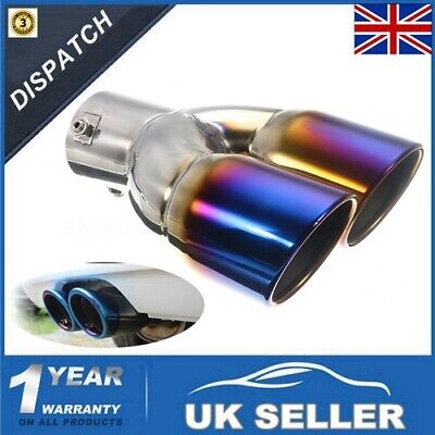 Universal 63MM Grilled Blue Twin Dual Double Exhaust Muffler Pipe Tail Tip