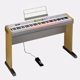 Digital Piano - Casio PL-40R with built-in speakers, illuminating keys, stand, pedal and dust cover.