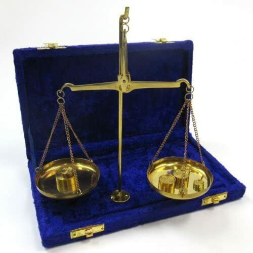 Nautical Brass Weighing Scale of Justice Balance Law Scale w/ Purple Velvet Box