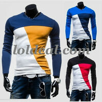 Men's Slim fit Mixed colors V-neck tee Shirt(Free Shipping)