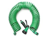 2 X LONG EXTENDING SPIRAL HEAVY DUTY GARDEN HOSES AND HAND HELD JET SPRAYS...V.G.C.