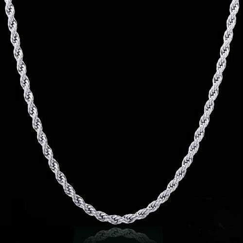 Diamond Cut Rope Chain Necklace Sterling Silver Solid 925 Stamped 16-30 Real