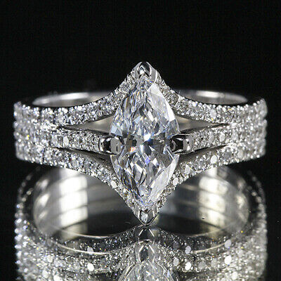 3.26ct GIA 18K White Gold Marquise Cut Diamond Engagement Ring H/SI1(5161411924)