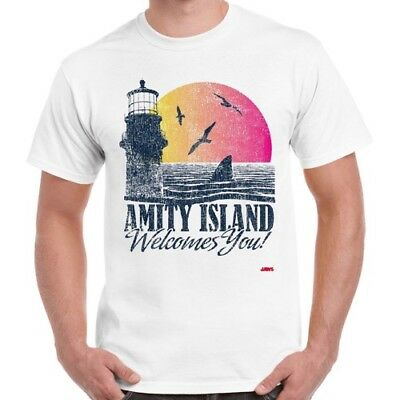 Amity Island Welcomes You Jaws 70s Film Quints Movie Vintage Retro TShirt 2276