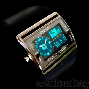 Black OHSEN Digital LED Date Rubber Sport Waterproof Mens Boy Watch OH03
