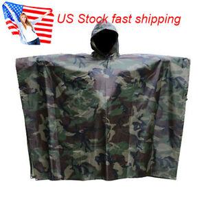 US Army Military Outdoor Woodland Camo Emergency Camouflage Rain Poncho Raincoat