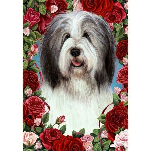 Roses House Flag - Blue and White Bearded Collie 19170