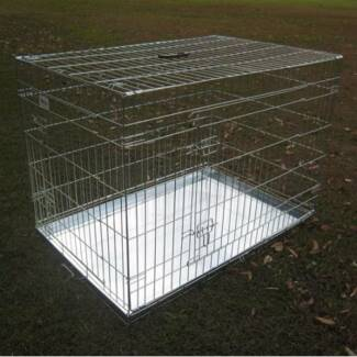"BENGO 48"" Foldable Silver Metal Pet Dog Cage"