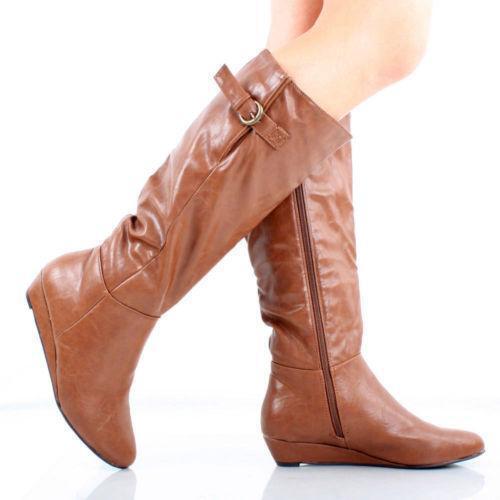 womens brown knee high flat boots ebay