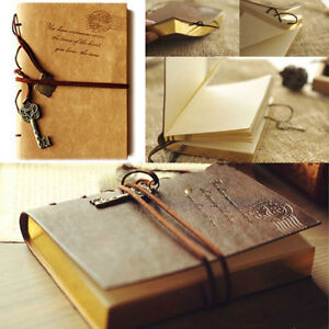 Vintage Classic Leather Key Blank Diary Travel Journal Sketchbook Notebook New