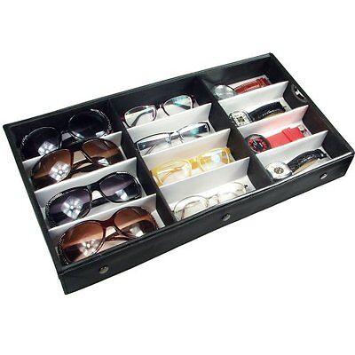 Eyeglasses Display Sunglasses Case Organizer Eyewear Box Storage Fabric 12 Pairs