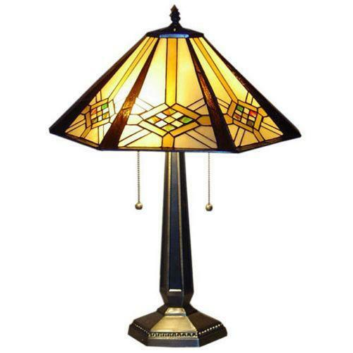 tiffany mission table lamp ebay. Black Bedroom Furniture Sets. Home Design Ideas