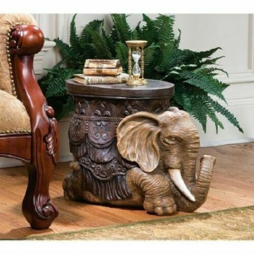 African Elephant Table Safari Footstool Display Stand Hand Painted