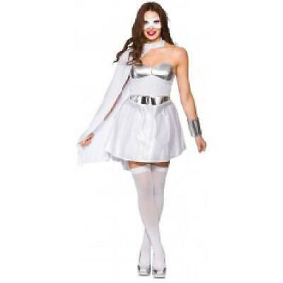 Hot Super Hero - White/Silver Lady Fancy Dress Costume