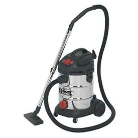Sealey PC300SDAUTO 30 Litre 1400 W 230 V Stainless Drum Auto Start Industrial Vacuum Cleaner