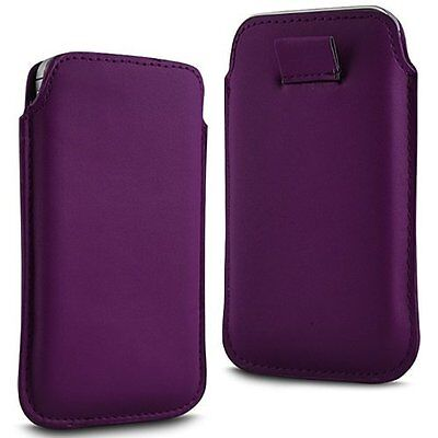 For - HTC One (E8) CDMA - Purple PU Leather Pull Tab Case Cover Pouch ()