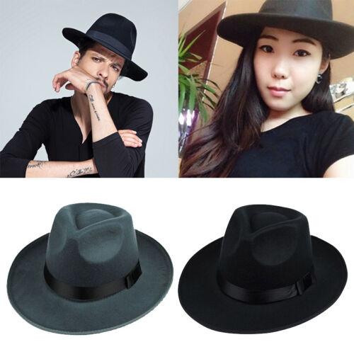 Männer Frauen Hard Felt Cap Wide Brim Fedora Trilby Panama Gangster Hut Gift;