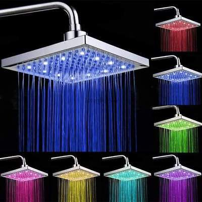 8  Inch Square Rain 7 Automatic Changing Color Led Light Shower Head Bath Vip
