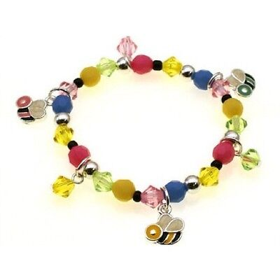 Childrens Multi-Colored Beaded Stretch Bracelet With Bumble Bee Charms