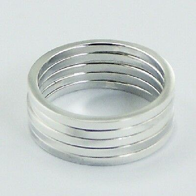 Silver ring stackable 925 stack of 5 rings in each set sizes 6us 7us 8us 9us