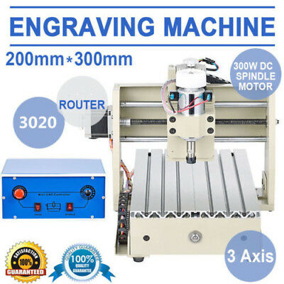 3axis Cnc 3020 Router Engraving Drill Mill Machine 300w Motor Woodworking